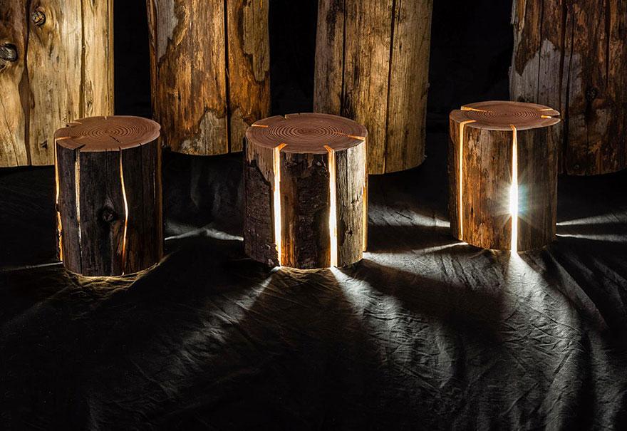 Cane in legno semplice camera da letto lampade da comodino lampada