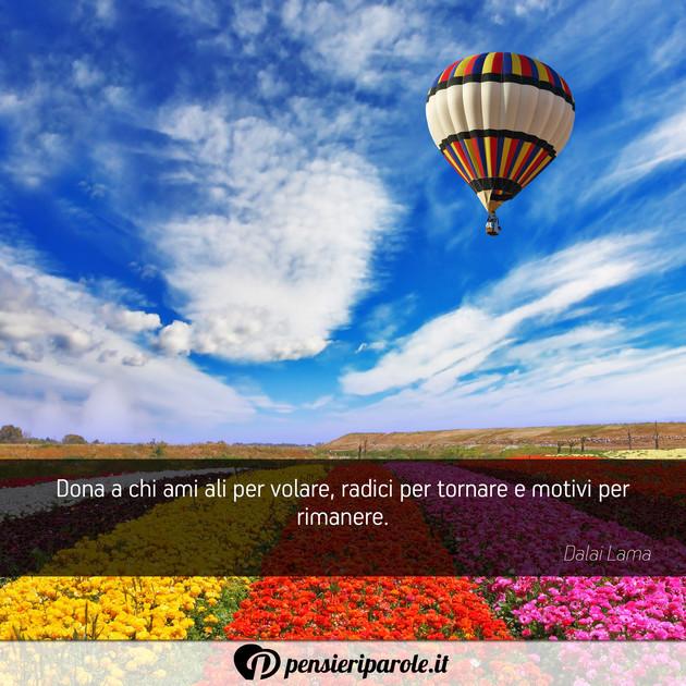 Favorito Dona a chi ami ali per volare, radici per - Dalai Lama  SO93
