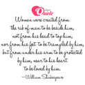 Picture with quote men & women by William Shakespeare - Women were created from the rib of man to be...