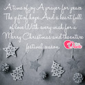 Picture with quote christmas wishes - A time of joy a prayer for peace The gift of...