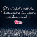 Picture with quote christmas wishes by Charlie Brown - It's not what's under the Christmas tree that...